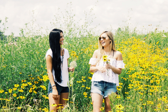 in flowers with friend