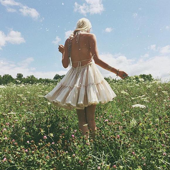 sarah in flower field