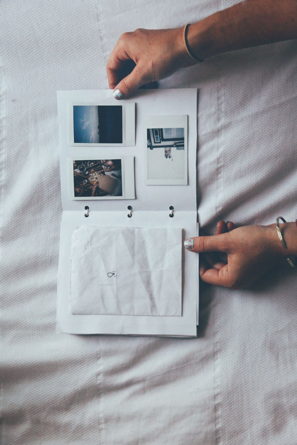 polaroids and note
