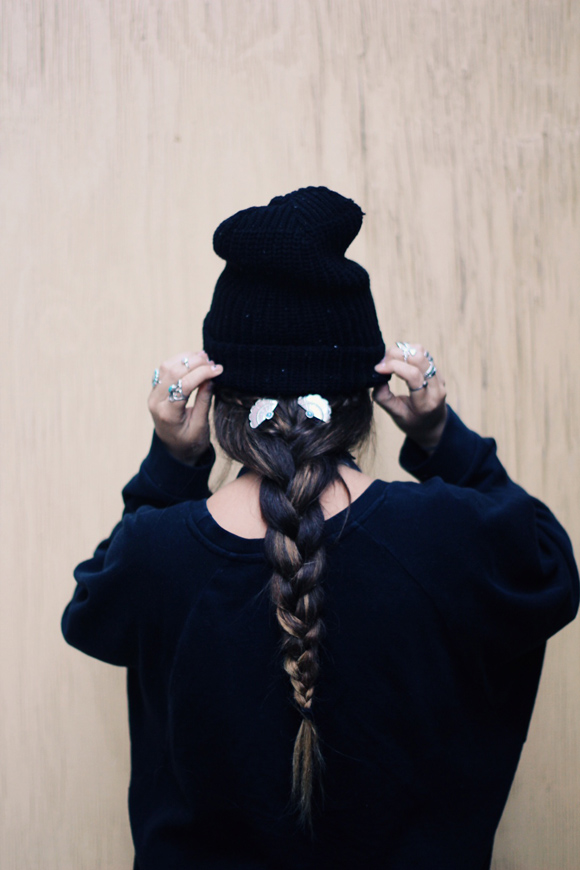 long braid and pins