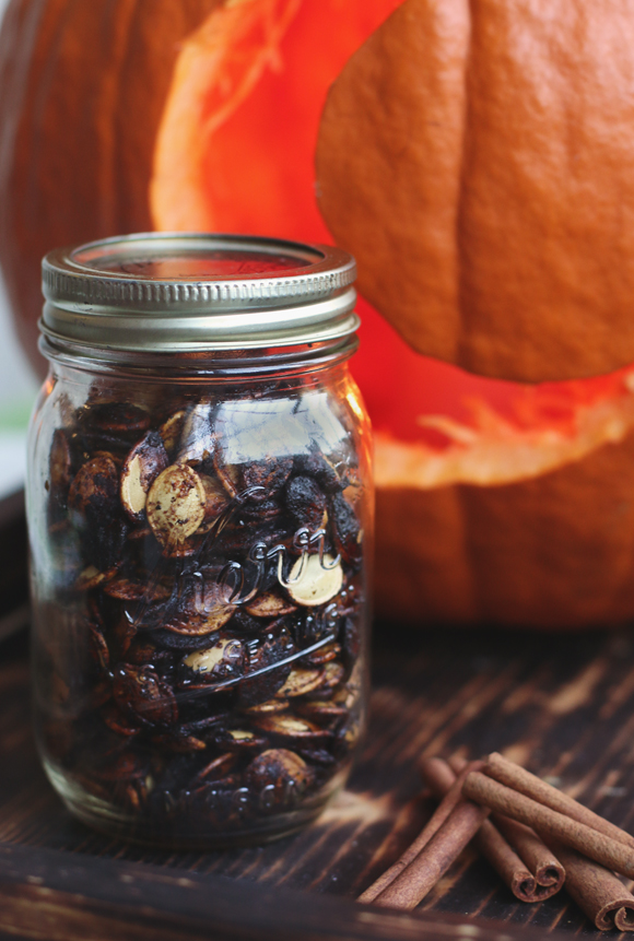 Post image for Spicy-Sweet Roasted Pumpkin Seeds
