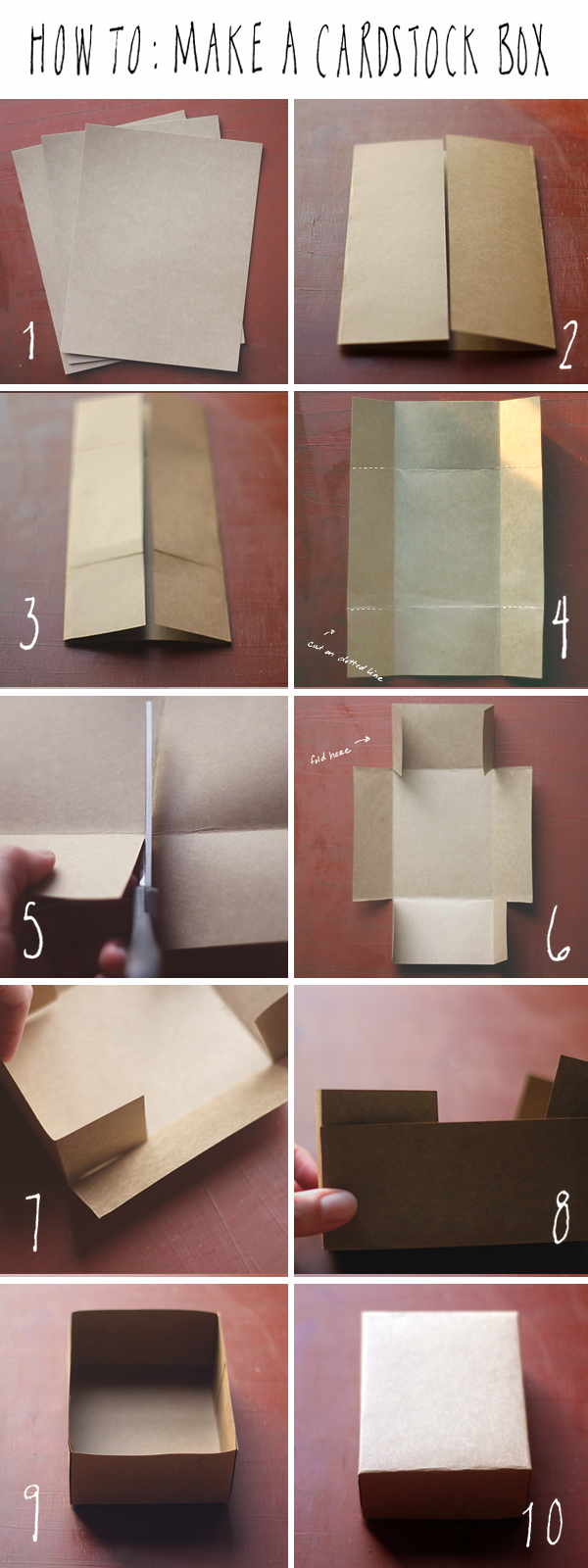 DIY cardstock box steps