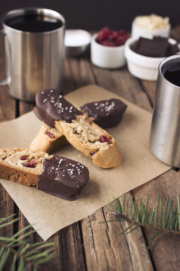 Post image for Gluten + Grain-Free Dark Chocolate Dipped Almond Cranberry Biscotti